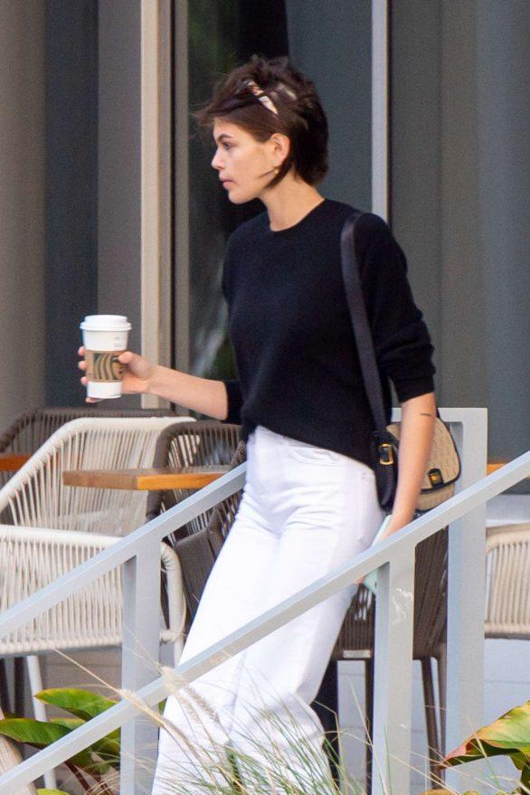 Kaia Gerber - Leaves Starbucks in Miami Beach