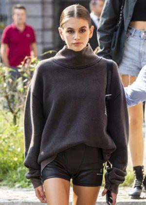 Kaia Gerber - Leaves the Max Mara Fashion Show in Milan