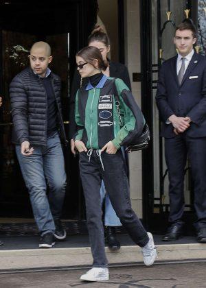 Kaia Gerber - Leaving her hotel in Paris