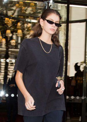 Kaia Gerber - Leaving the Royal Monceau hotel in Paris