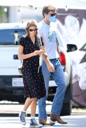 Kaia Gerber - Out in a cherry print dress in West Hollywood