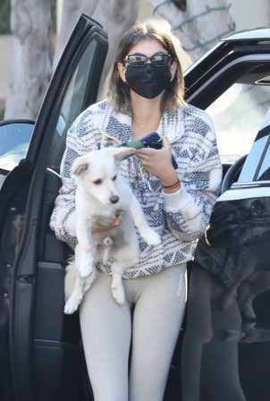Kaia Gerber - Seen after pilates with her pooch in West Hollywood