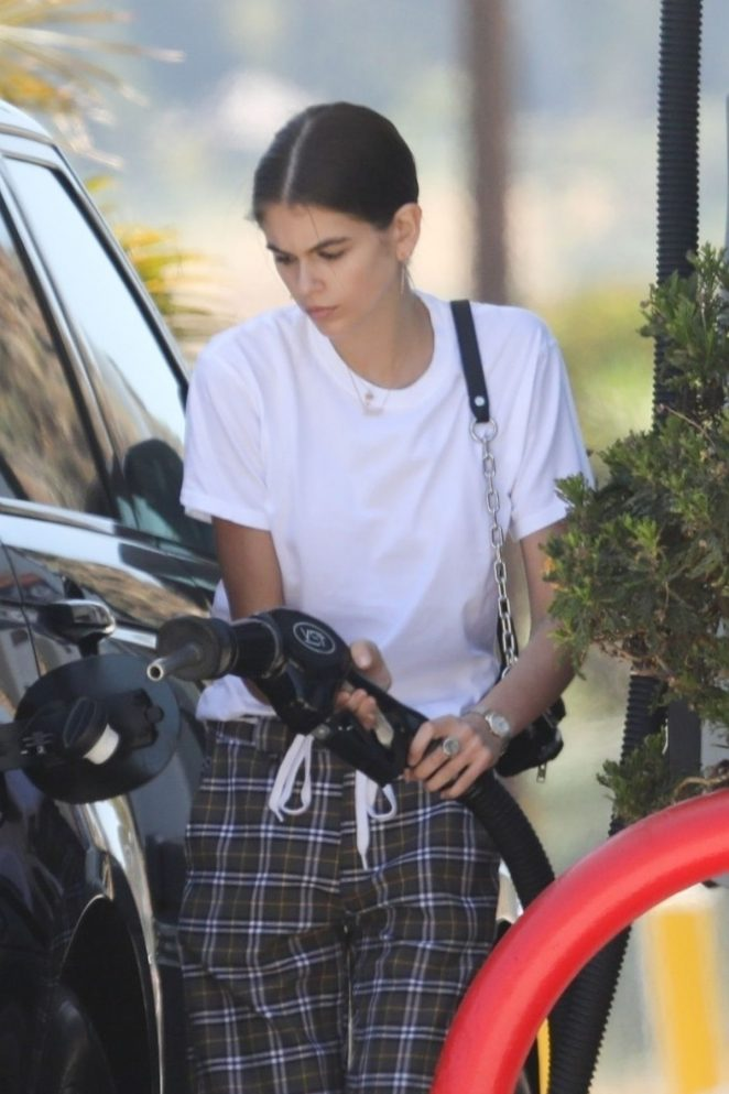 Kaia Gerber - Seen at A Gas Station In Malibu