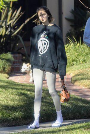 Kaia Gerber - Seen outside with dog Milo in Santa Monica