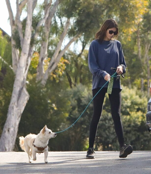 Kaia Gerber - Walking her dog in Los Angeles
