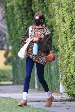 Kaia Gerber - Wearing leopard print jacket in Los Angeles