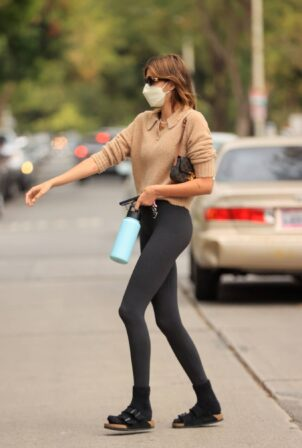 Kaia Gerber - wearing yoga pants and a knitted top in West Hollywood
