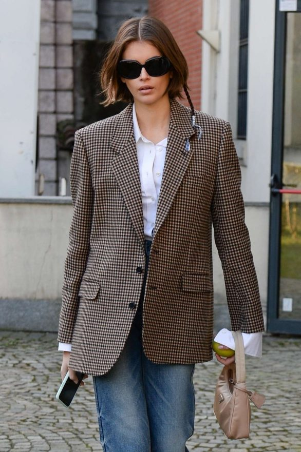 Kaia Gerber - Wears oversized blazer during Milan Fashion Week Fall-Winter 2020-2021