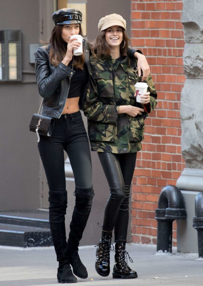 Kaia Gerber with a friend Gets a coffee in NYC