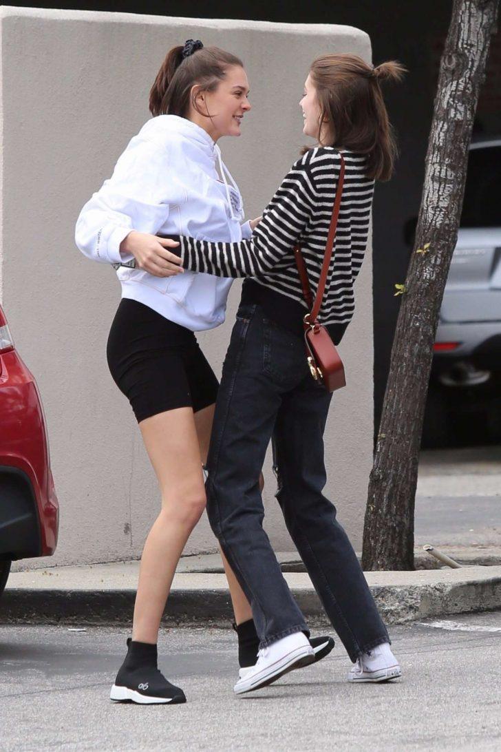 Kaia Gerber with a friend in Brentwood