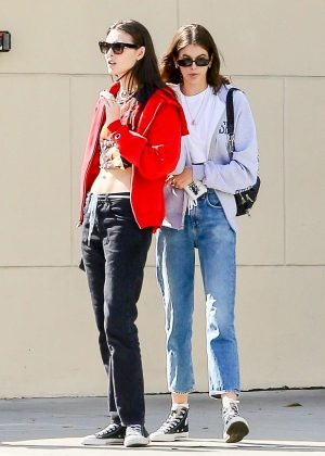 Kaia Gerber with a friend out in Malibu
