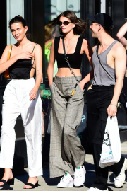 Kaia Gerber with friends out in SoHo