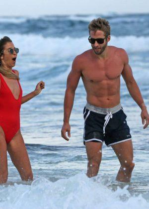 London Hughes in Orange Bikini at a pool party in Cape Verde Pic 6 of 35
