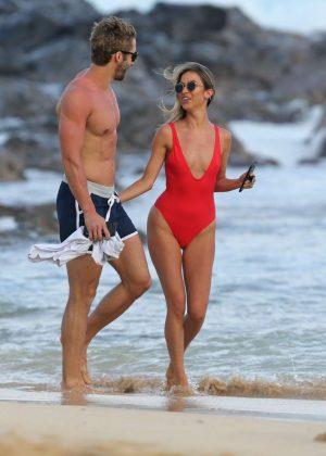 London Hughes in Orange Bikini at a pool party in Cape Verde Pic 2 of 35