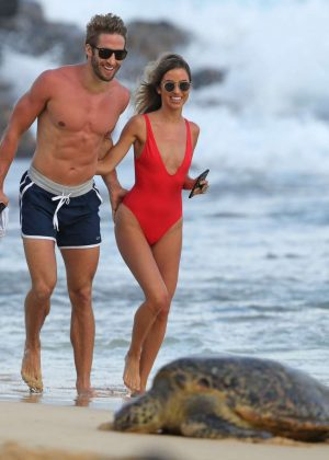 London Hughes in Orange Bikini at a pool party in Cape Verde Pic 4 of 35