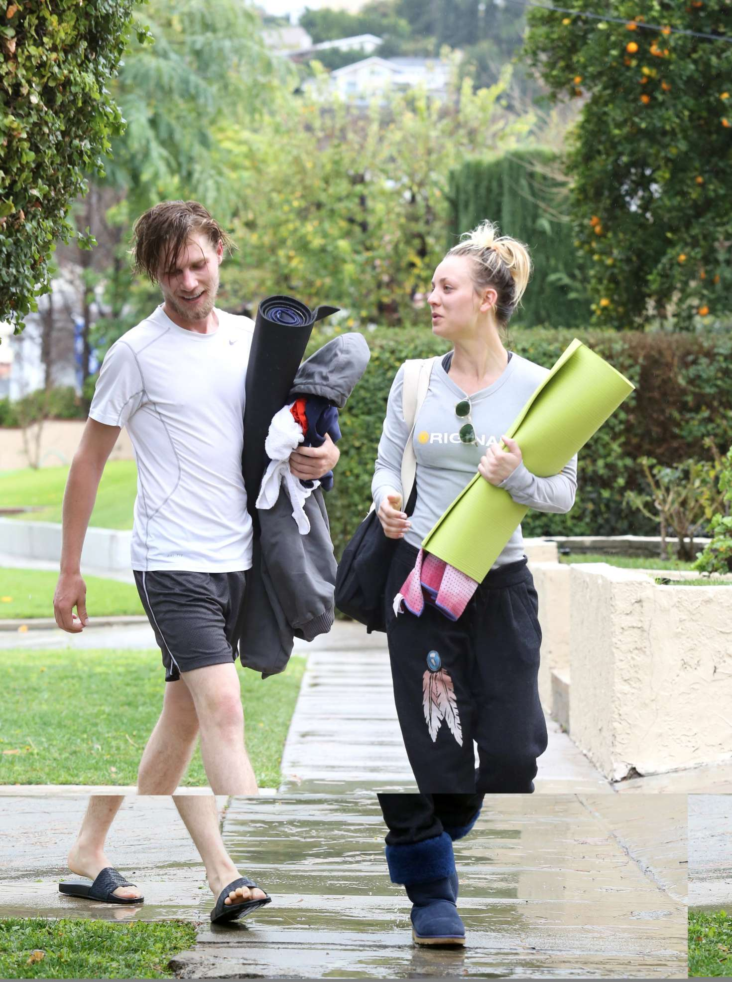 Kaley Cuoco 2017 : Kaley Cuoco and boyfriend Karl Cook Leaves yoga class -01