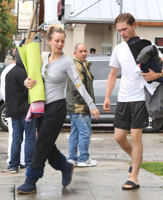 Kaley Cuoco and boyfriend Karl Cook Leaves yoga class -03
