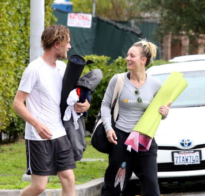 Kaley Cuoco and boyfriend Karl Cook Leaves yoga class -07