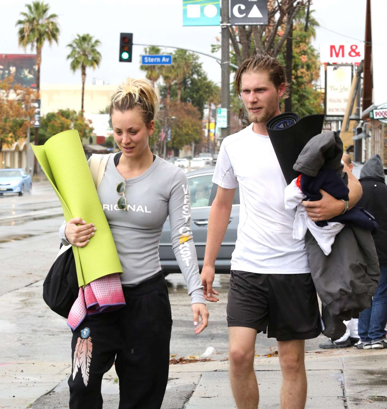 Kaley Cuoco 2017 : Kaley Cuoco and boyfriend Karl Cook Leaves yoga class -08