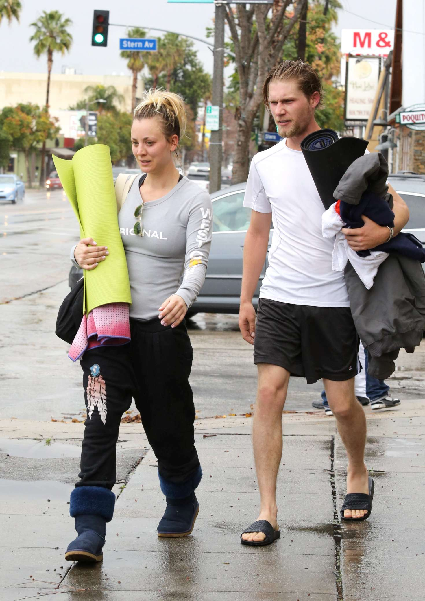 Kaley Cuoco 2017 : Kaley Cuoco and boyfriend Karl Cook Leaves yoga class -33