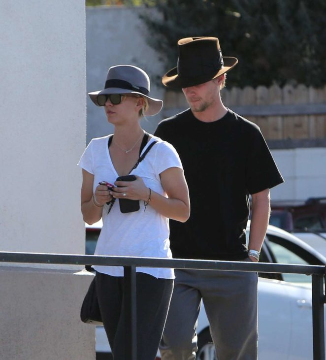 Kaley Cuoco and Karl Cook at Enterprise Caar Rental and Calabasas Saddlery in LA