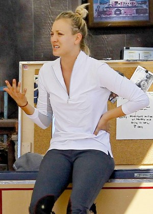 Kaley Cuoco at the Flintridge Riding Club in Los Angeles