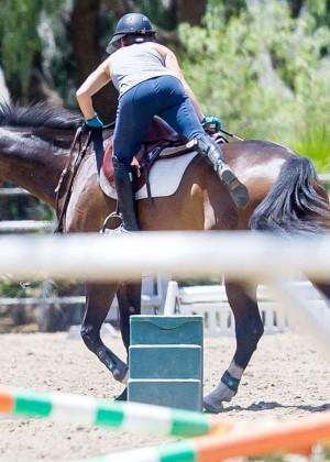 Kaley Cuoco in Tights Horseback Riding in LA
