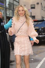 Kaley Cuoco in Light Pink Outfit - Leaving her hotel in NYC