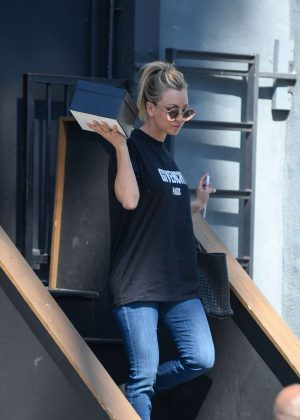 Kaley Cuoco Leaves a studio in LA