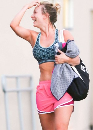 Kaley Cuoco in Pink Shorts Leaving a yoga class in Studio City