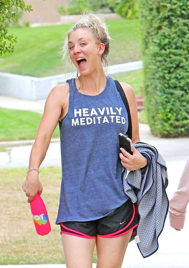 Kaley Cuoco Leaving Workout in Studio City