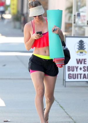 Kaley Cuoco in Shorts Leaving yoga class in LA