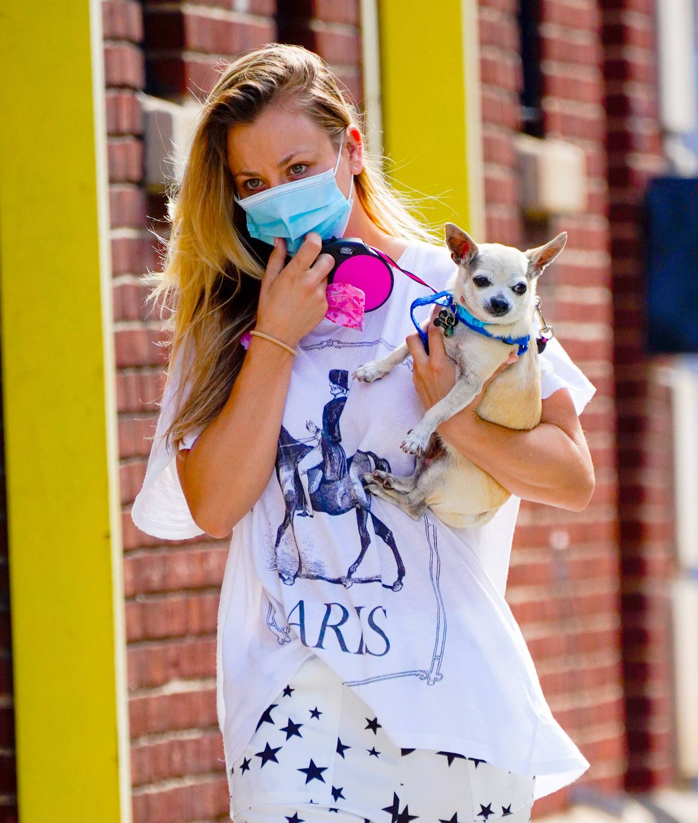 Kaley Cuoco - out with her pup in New York City