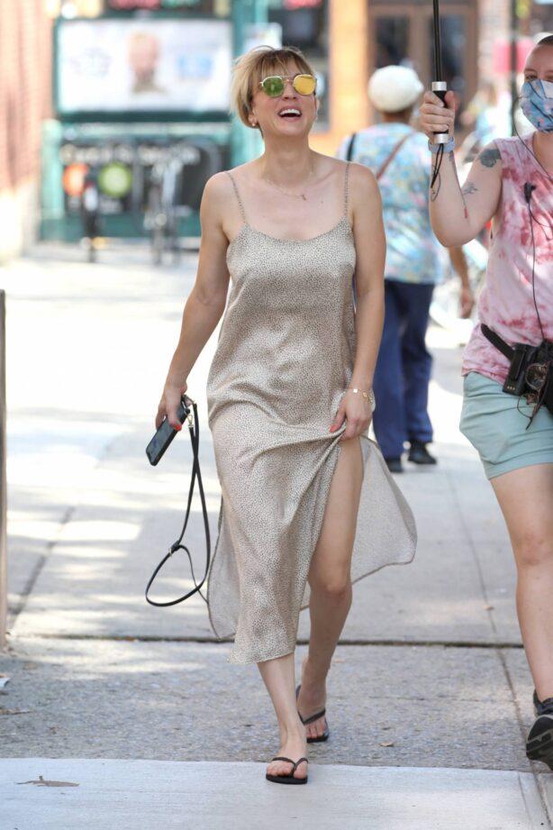 Kaley Cuoco - Wears a silver slip dress on the set of 'Meet Cute' in Brooklyn
