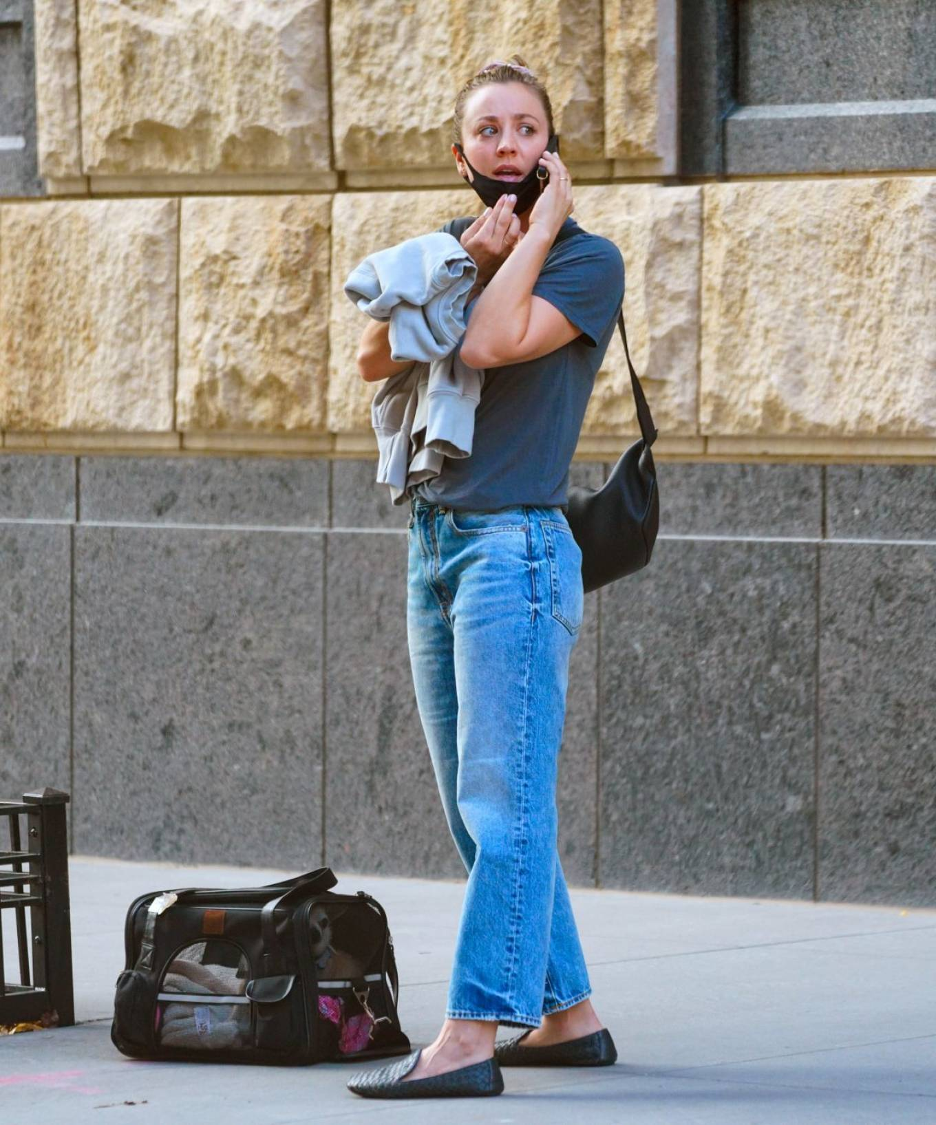 Kaley Cuoco 2020 : Kaley Cuoco – With her dog Dumpy out for walk in New York-01