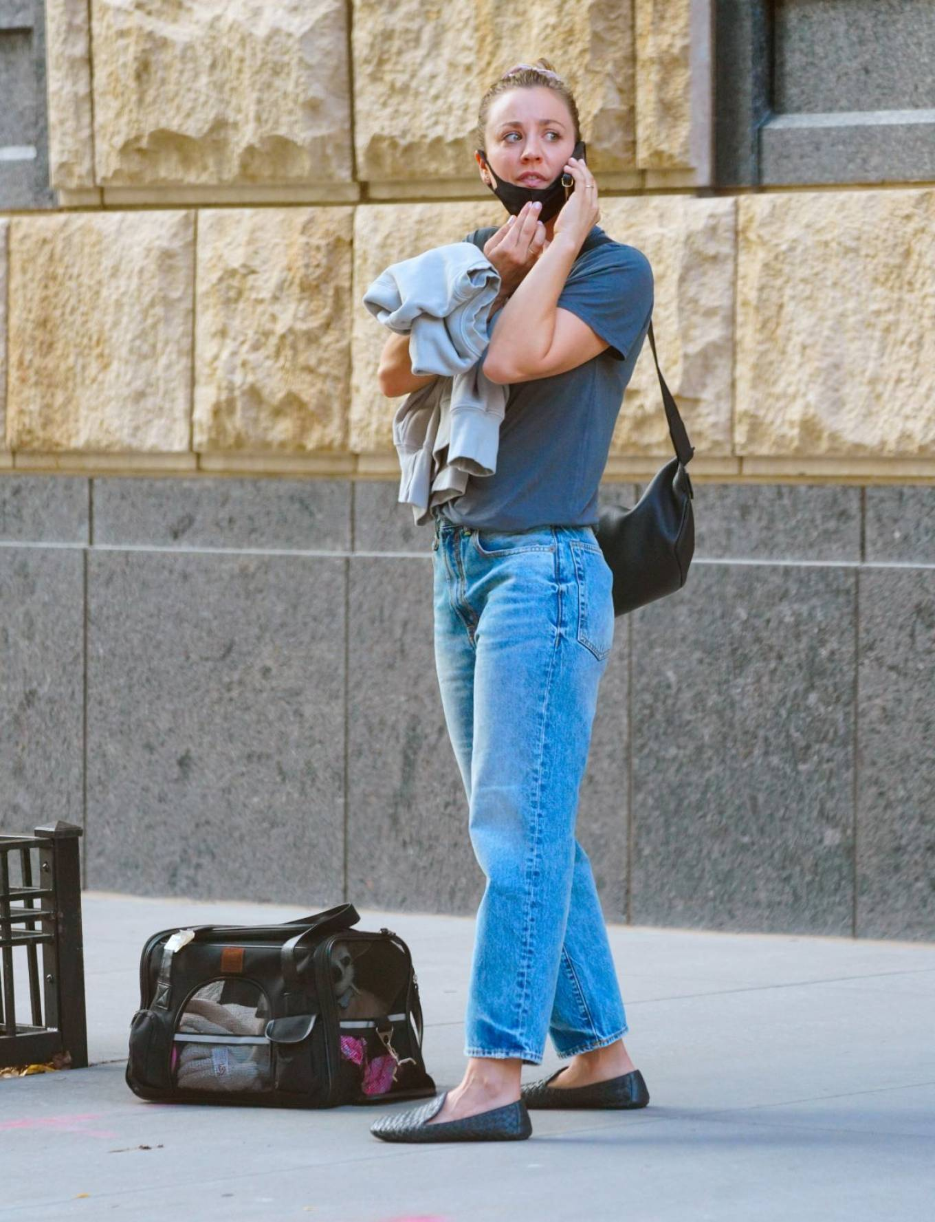 Kaley Cuoco 2020 : Kaley Cuoco – With her dog Dumpy out for walk in New York-02