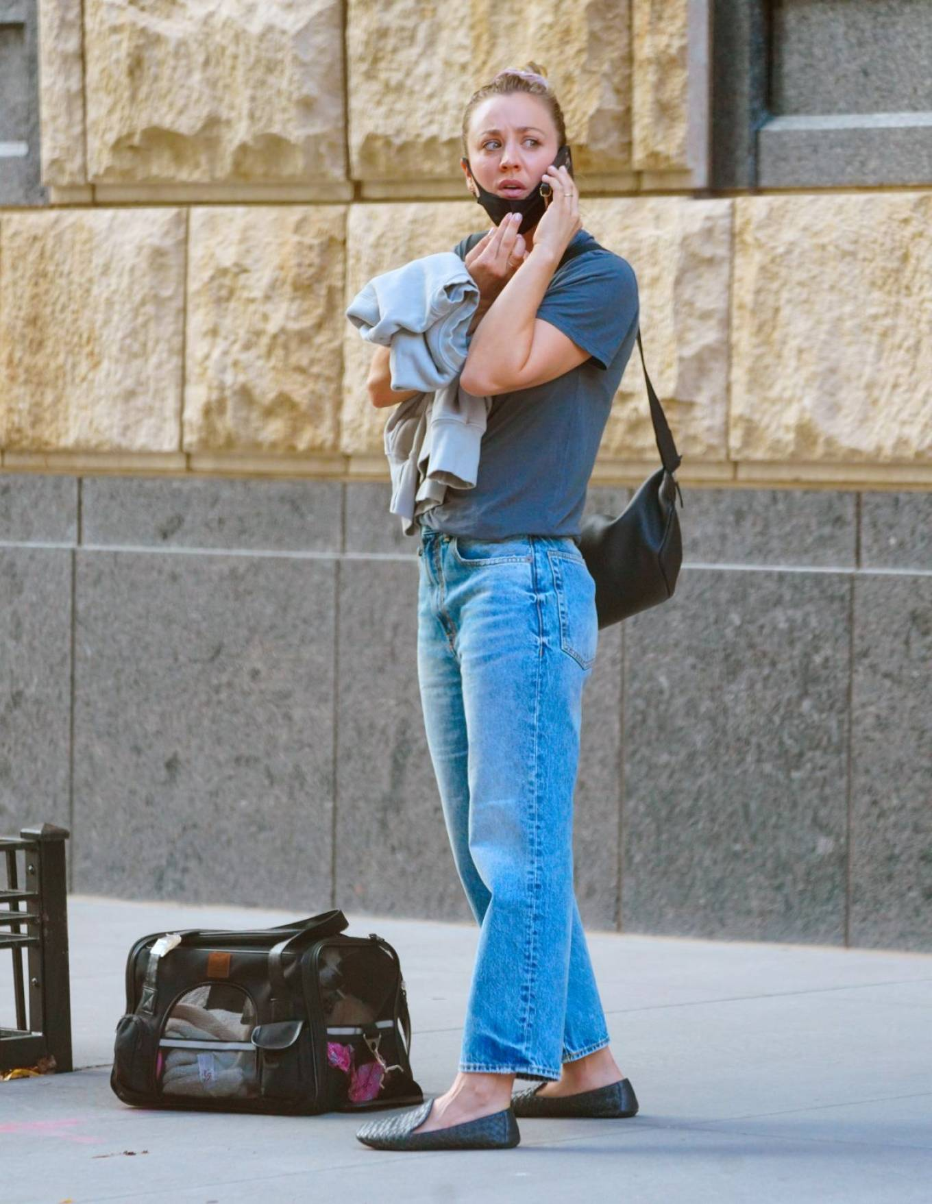 Kaley Cuoco 2020 : Kaley Cuoco – With her dog Dumpy out for walk in New York-05