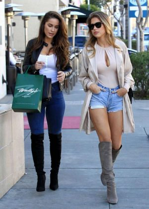 Kara Del Toro in Jeans Shorts Out in Beverly Hills