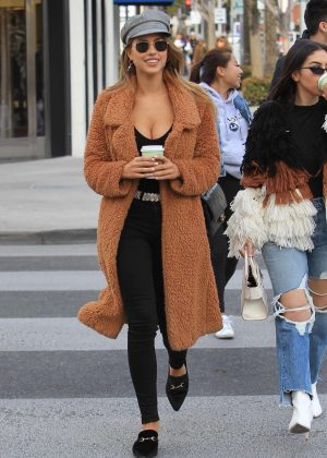 Kara Del Toro in Long Coat out in Beverly Hills