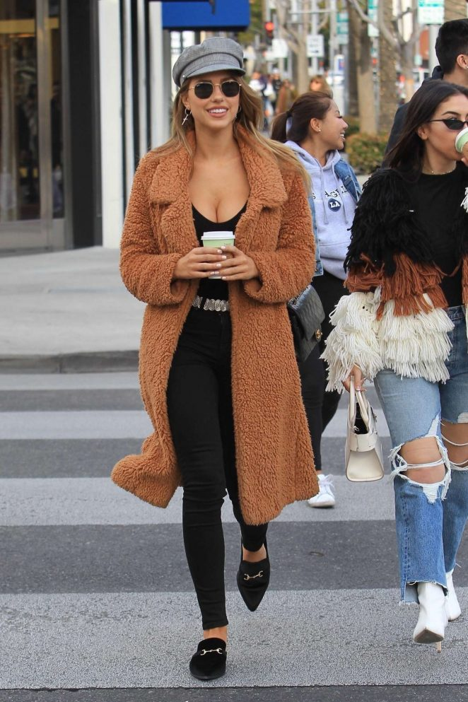 Kara Del Toro in Long Coat out in Beverly Hills