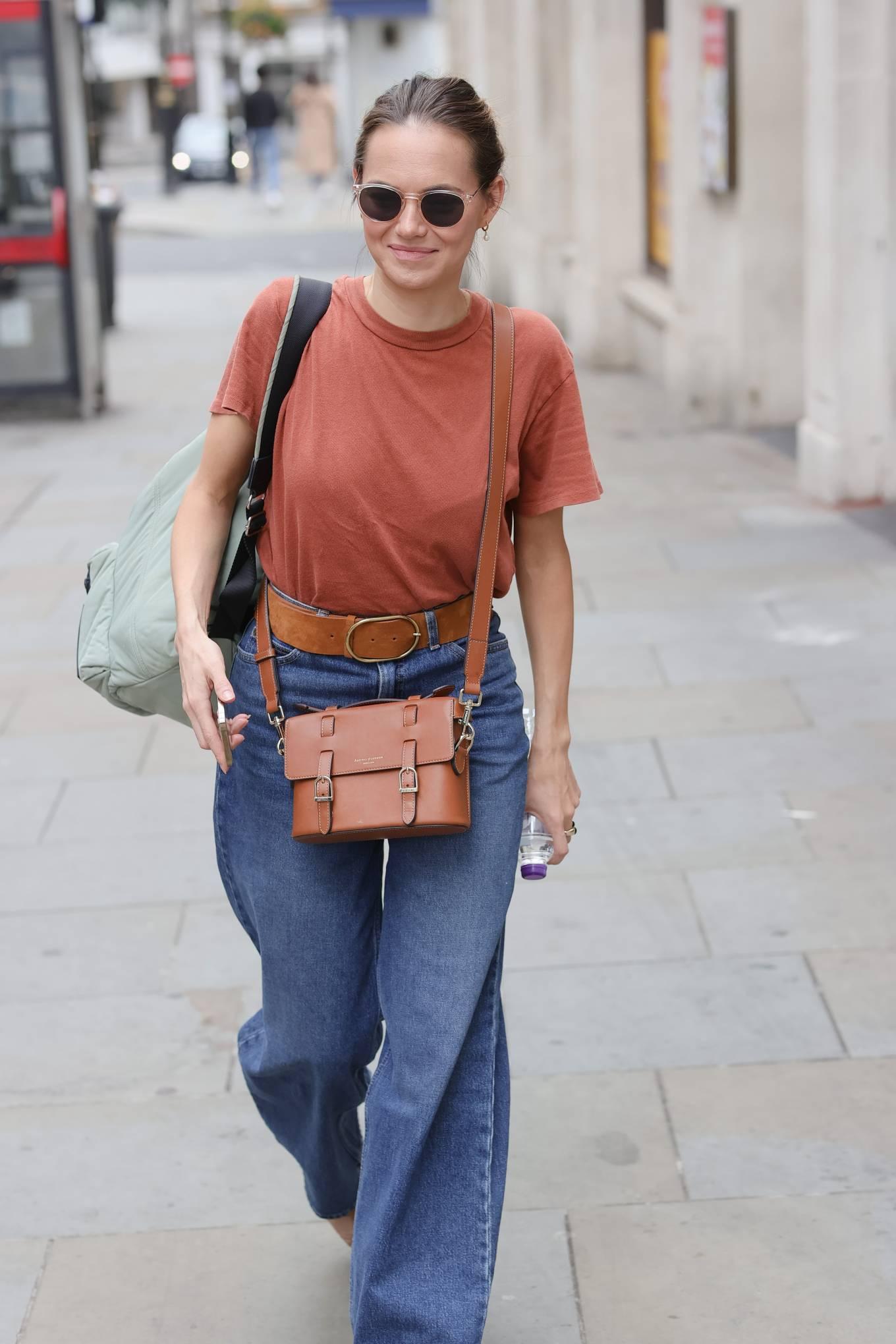 Kara Tointon 2021 : Kara Tointon – In flared denim pants stepping out in London-03