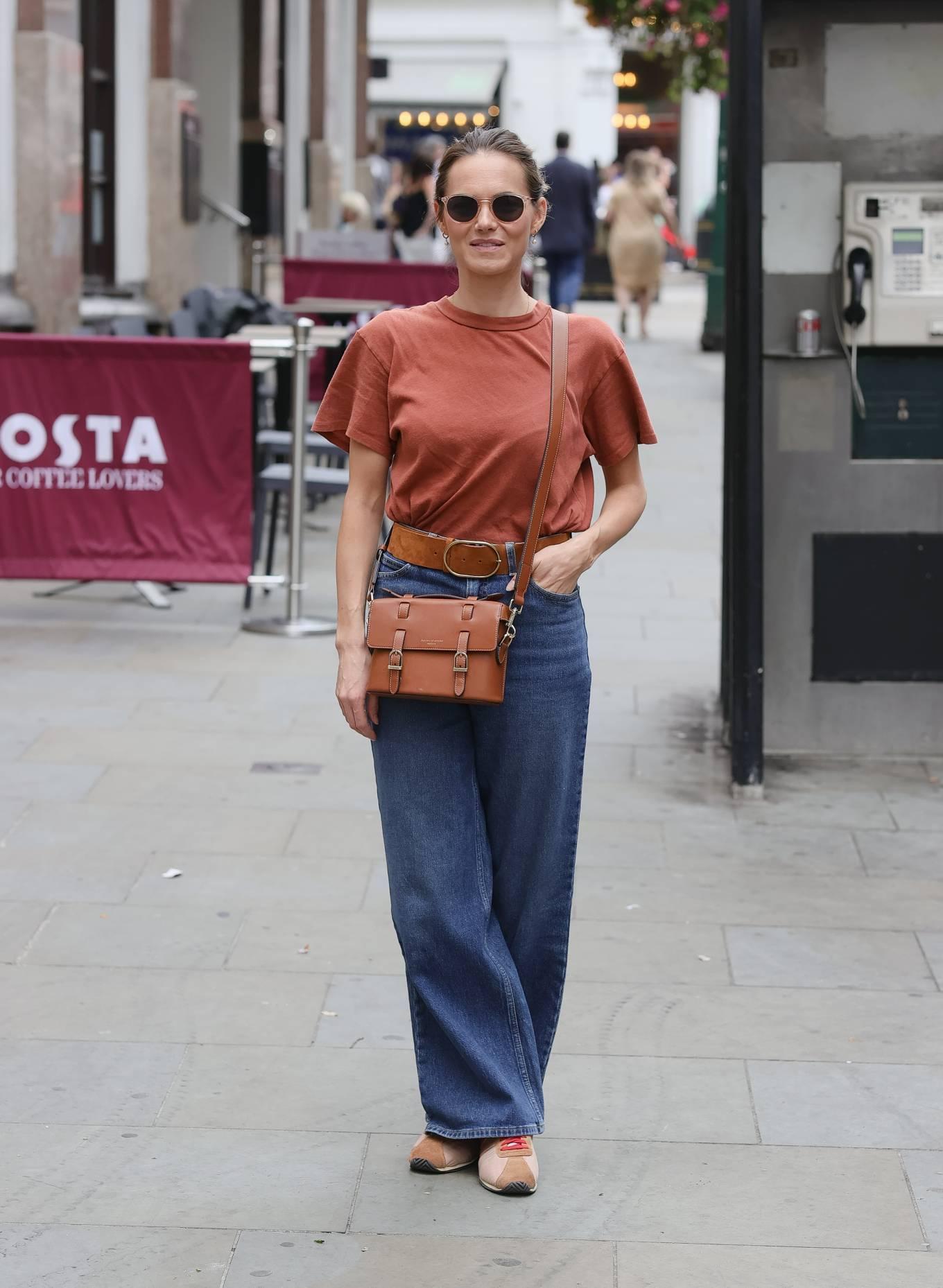 Kara Tointon 2021 : Kara Tointon – In flared denim pants stepping out in London-06