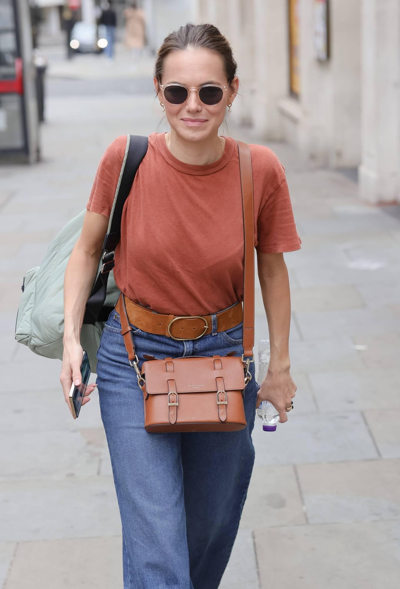 Kara Tointon 2021 : Kara Tointon – In flared denim pants stepping out in London-09