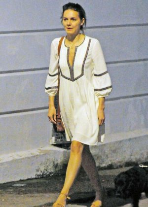 Kara Tointon in White Dress out in London