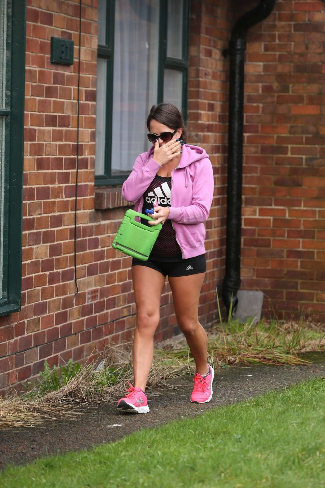 Karen Danczuk in Shorts Leaves gym session in Rochdale