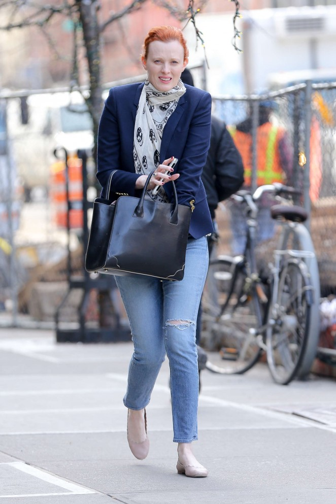 Karen Elson in Jeans out in NY