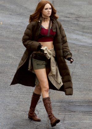 Karen Gillan on the set of 'Jumanji' in Atlanta