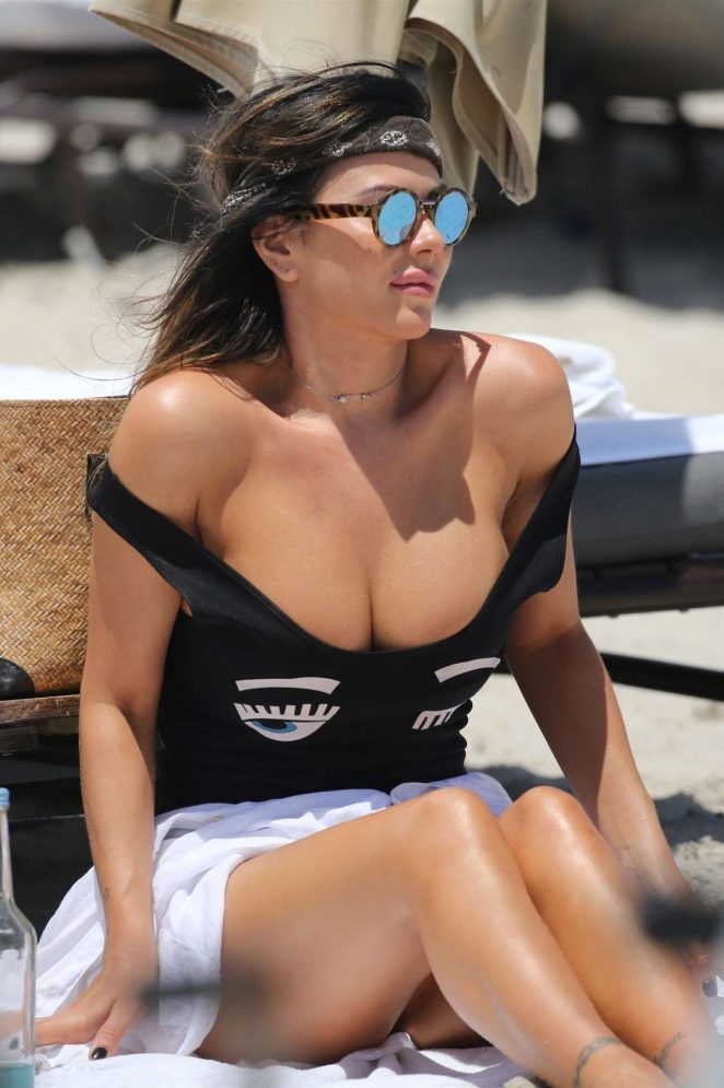 Karina Jelinek in Black Swimsuit at the beach in Miami