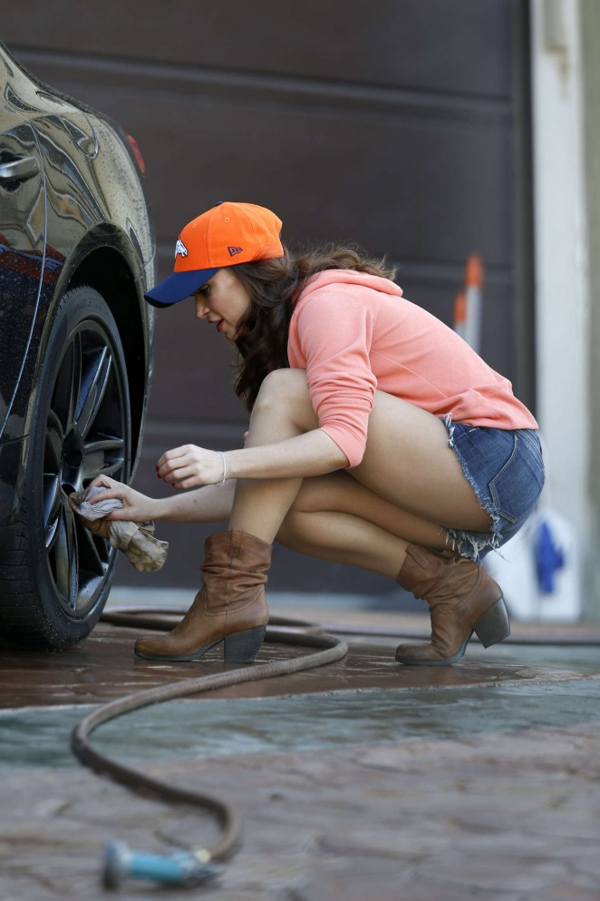 Karina Smirnoff in Jeans Short Washing Car in LA