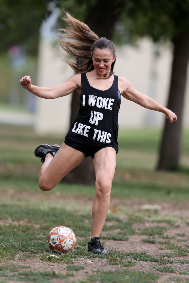 Karina Smirnoff - Playing soccer at a park in Beverly Hills